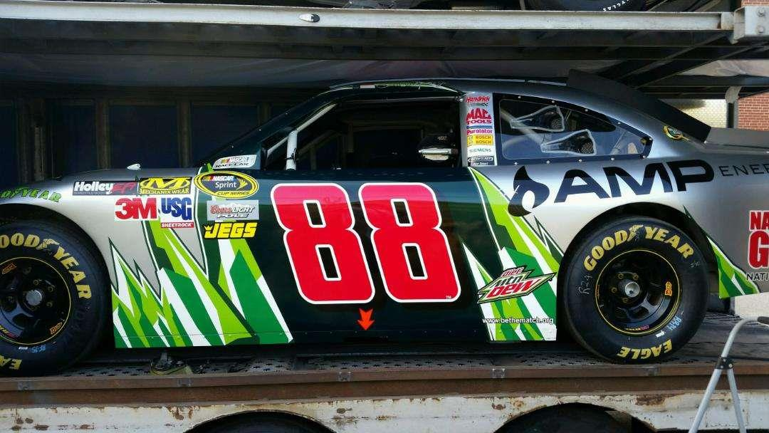 Earnhardt Race Car Loading Enclosed Carrier